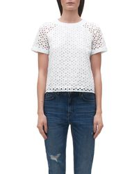 Whistles | White Broderie Cotton Top | Lyst