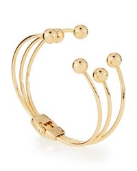 Lydell NYC - Metallic Golden Triple-row Hinged Ball Cuff Bracelet - Lyst