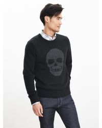 Banana Republic | Black Skull Crew Pullover for Men | Lyst