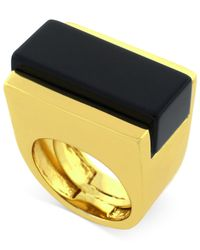Vince Camuto | Metallic Gold-Tone Onyx Stone Cocktail Ring | Lyst