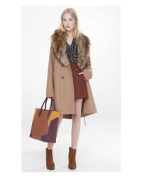Express - Natural Extreme Faux Fur Collar Belted Coat - Lyst