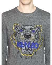 KENZO - Gray Tiger Embroidered Cotton Sweatshirt - Lyst