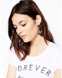 French Connection - Metallic Coated Graphic Drop Earrings - Lyst