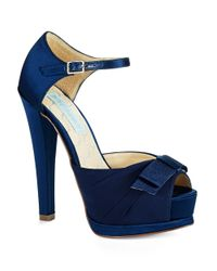 Betsey Johnson | Blue Pouf Platform Peep Toe Pumps | Lyst
