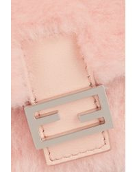 Fendi | Pink Baguette Micro Leather-trimmed Shearling Shoulder Bag | Lyst