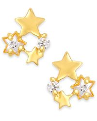 Macy's | Yellow Cubic Zirconia Star Stud Earrings In 18k Gold Over Sterling Silver | Lyst