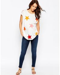 ASOS | White T-shirt In Slouchy Rib With Star Print | Lyst