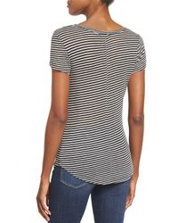 PAIGE - Black Hadley Striped Short-sleeve Tee - Lyst