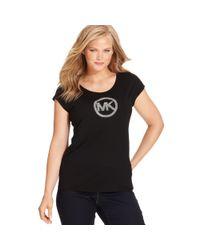 Michael Kors | Black Michael Plus Size Short-Sleeve Mk-Logo Tee | Lyst