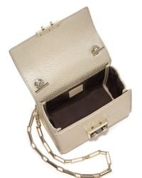 Luana Italy - White Anais Mini Metallic Leather Chain Crossbody Bag - Lyst