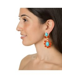 Bounkit | Multicolor Carnelian, Turquoise, And Clear Quartz Earrings | Lyst