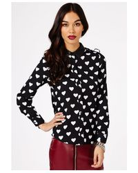 Missguided | Black Akasha Heart Print Blouse | Lyst