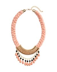H&M | Pink Braided Necklace | Lyst