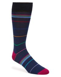 Bugatchi | Blue Multicolor Stripe Socks for Men | Lyst