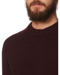 Label Lab - Purple Absinthe Textured Crew Neck Knit for Men - Lyst