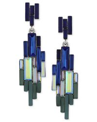 Vince Camuto - Blue Silver-tone Multicolor Baguette Linear Earrings - Lyst