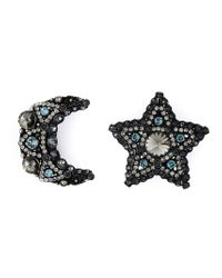 Lanvin | Black Star And Moon Clip-on Earrings | Lyst