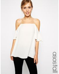 39ac8a3c63ad4 Lyst - ASOS Cold Shoulder Cami Top in White