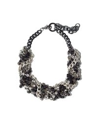 Fenton | Metallic Gunmetal Thick Twisted Necklace | Lyst