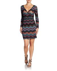 M Missoni | Black Zig Zag Striped Knit Long Sleeve Dress | Lyst