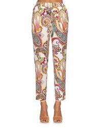 Etro - Multicolor Paisley-print Silk Trousers - Lyst