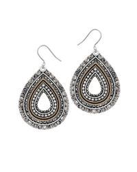 Lucky Brand | Metallic Two-tone Pave Drop Earrings | Lyst