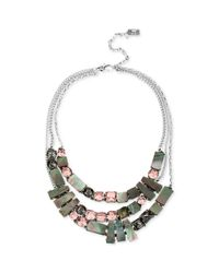 Kenneth Cole | Metallic New York Silvertone Geometric Shell and Crystal Multirow Necklace | Lyst