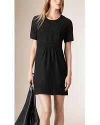 Burberry | Black Broderie Anglais Detail Cotton Silk Dress | Lyst