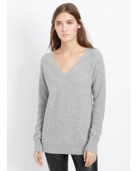 Vince - Gray Cashmere Multi-stitch V-neck Sweater - Lyst