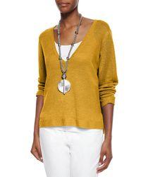 Eileen Fisher - Yellow Organic Linen Top - Lyst
