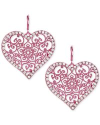 Betsey Johnson | Pink-tone Filigree Crystal Heart Drop Earrings | Lyst