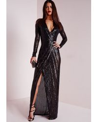 Missguided | Premium Sequin Stripe Wrap Maxi Dress Black | Lyst