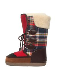 DSquared² - Blue Nylon & Plaid Wool Snow Boots - Lyst