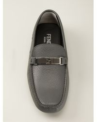 Fendi - Gray Signature Ff Driving Loafers for Men - Lyst