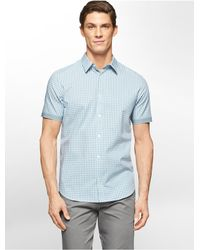 Calvin Klein | Blue White Label Classic Fit Cord Dobby Plaid Short Sleeve Shirt for Men | Lyst