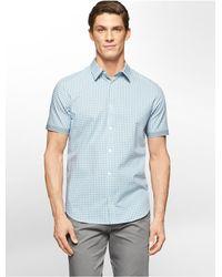 Calvin Klein - Blue White Label Classic Fit Cord Dobby Plaid Short Sleeve Shirt for Men - Lyst