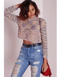 Missguided - Multicolor Rainbow High Neck Crop Sweater Multi - Lyst