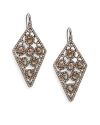 Bavna | Metallic Grey, Champagne, Polki Diamond & Sterling Silver Drop Earrings | Lyst