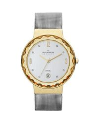 Skagen - Metallic 'leonora' Large Faceted Glass Bezel Watch - Lyst