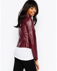 Vero Moda | Purple Pu Zip Front Biker Jacker | Lyst