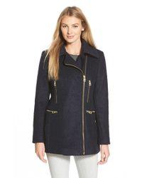 Guess - Blue Boucle Asymmetrical Zip Coat - Lyst