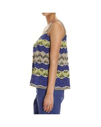 M Missoni   Blue Metallic Crochet-knit Top   Lyst