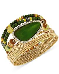 INC International Concepts - Gold-tone Green Stone Bangle Bracelet Set - Lyst