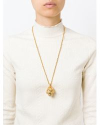 Alexander McQueen - Metallic Floral Skull Necklace - Lyst