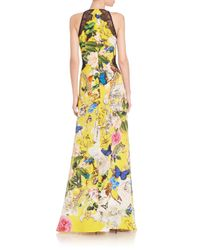 Roberto Cavalli - Multicolor Silk Deep-v Floral-print Gown - Lyst