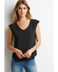 Forever 21 - Black Scoop Neck Woven Blouse - Lyst