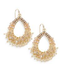 Saks Fifth Avenue - Metallic Beaded Open Teardrop Earrings - Lyst