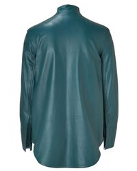 Balmain | Blue Petrol Leather Shirt | Lyst