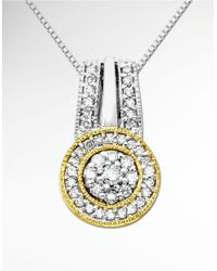 Lord & Taylor - Metallic Diamond Pendant In Sterling Silver With 14k Yellow Gold - Lyst