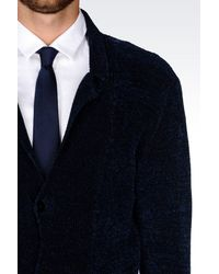Emporio Armani | Blue Knit Jacket for Men | Lyst